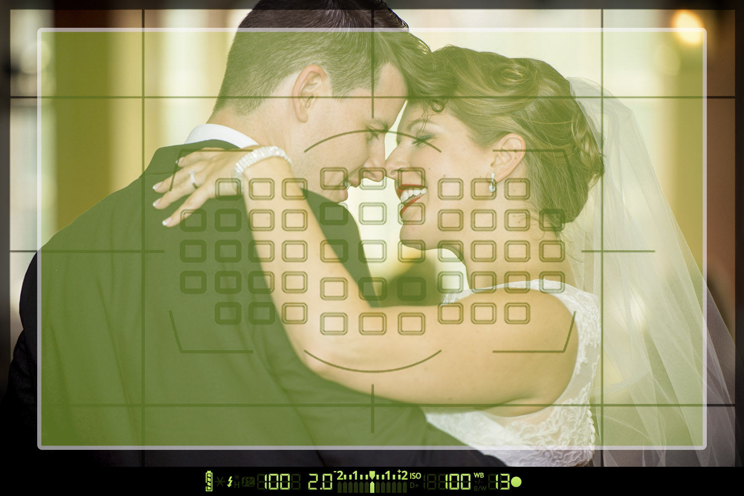 A wedding photo overlaid with the sample area of matrix metering
