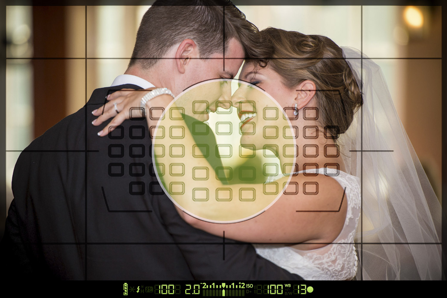 A wedding photo overlaid with the sample area of center-weighted metering