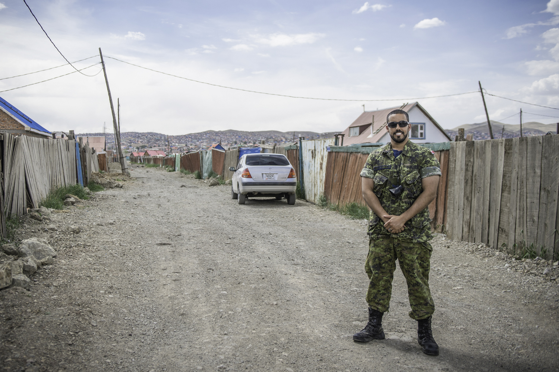 Corporal Andrew Wesley standing in Ulaanbaatar, Mongolia.in 2015
