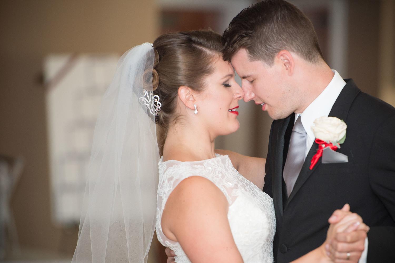 Jess and Matt dancing their first dance during their wedding reception