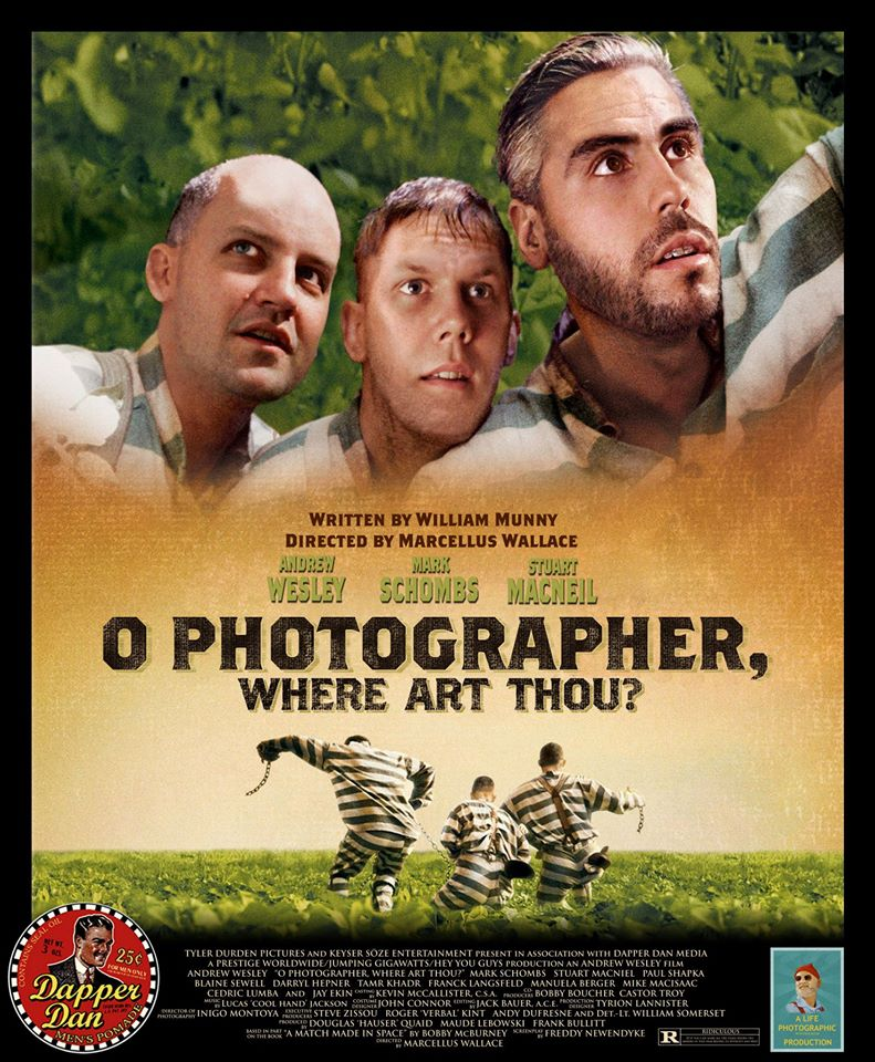 A project I did a number of years ago, using Photoshop to put my face and the faces of two buddies onto a movie poster.
