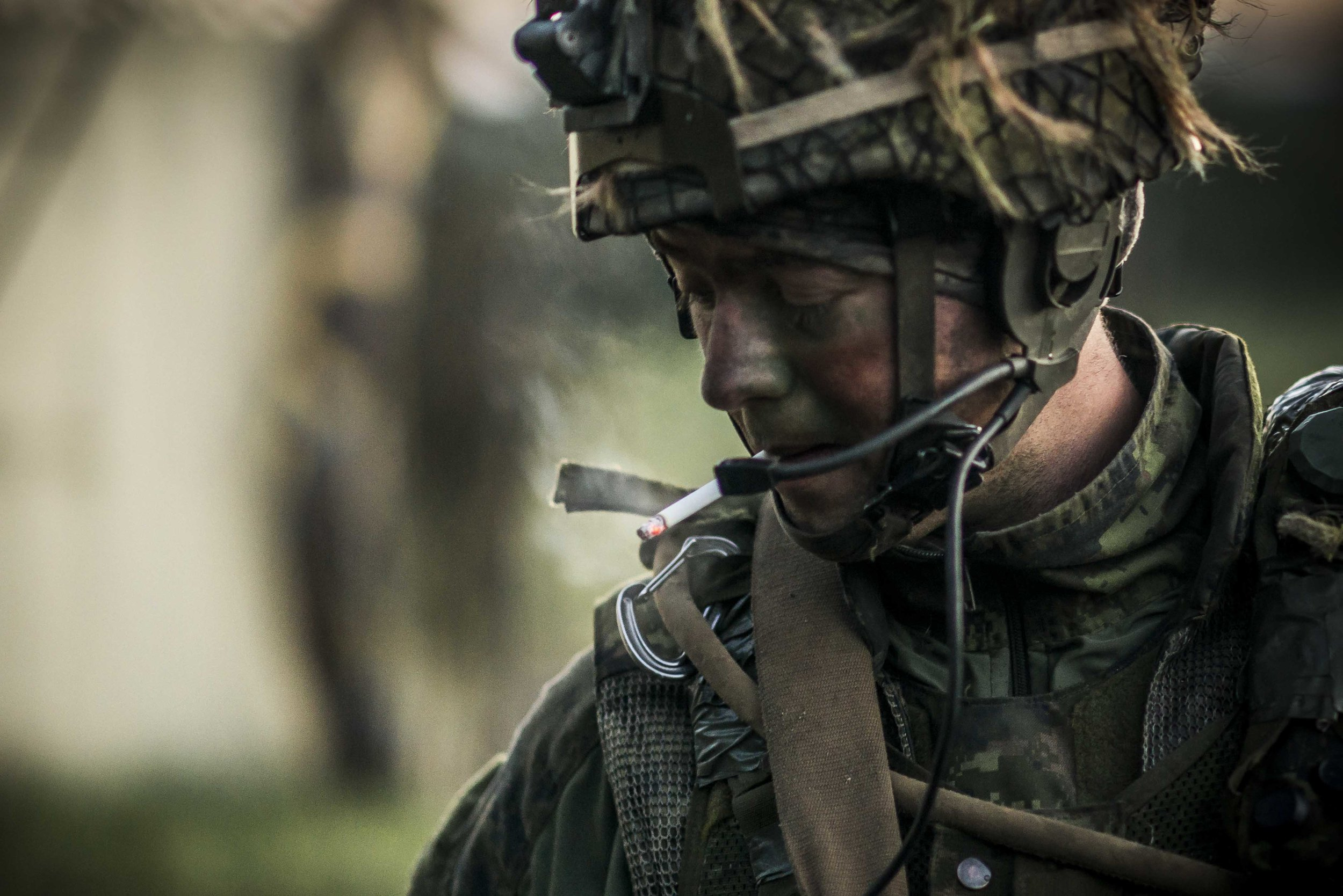 A soldier from 3 PPCLI taking a smoke after an all-night offensive against a fortified location.  Is it sharp?  Not a chance.