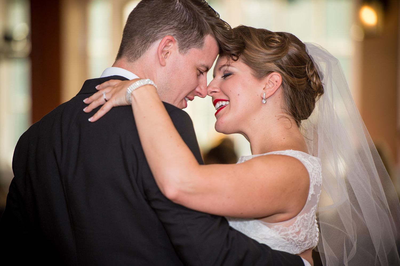 Jess and Matt dancing their first dance at their wedding.