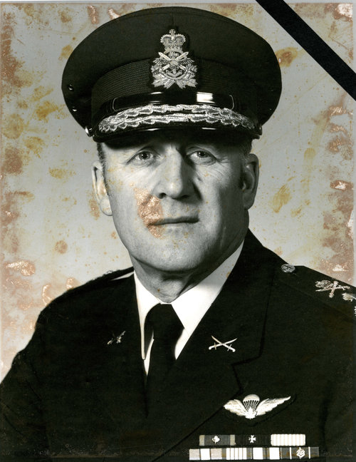 Damaged photo of the former Commander of the Canadian Army.