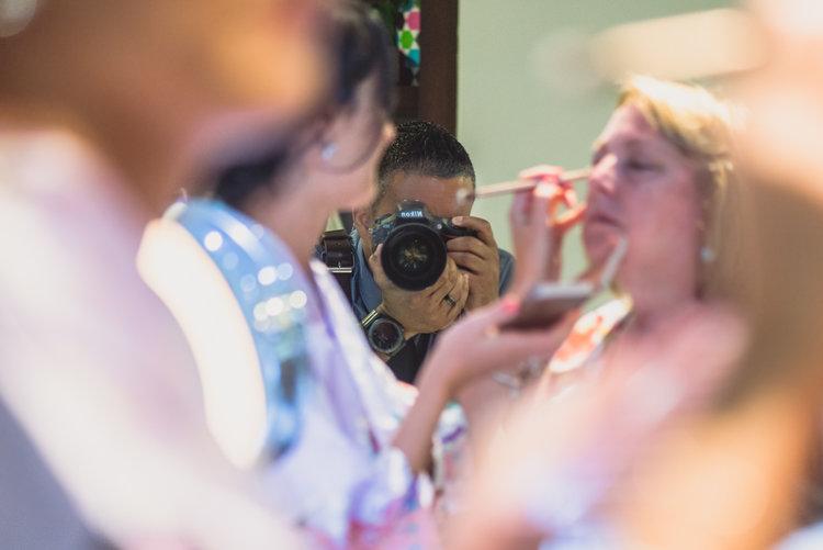 A selfie taken during a wedding.