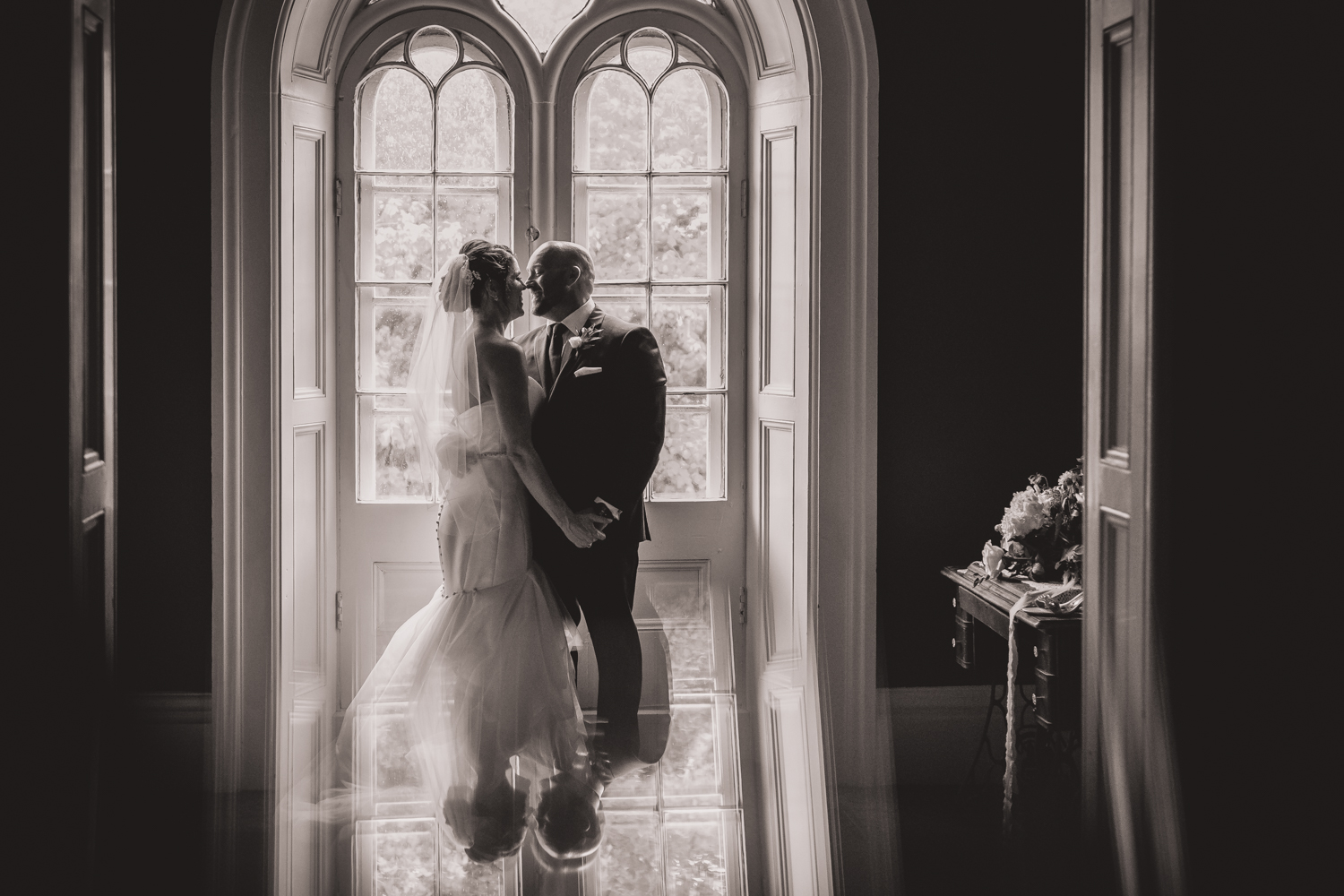 The bride and groom in the beauty of the Strathmere lodge