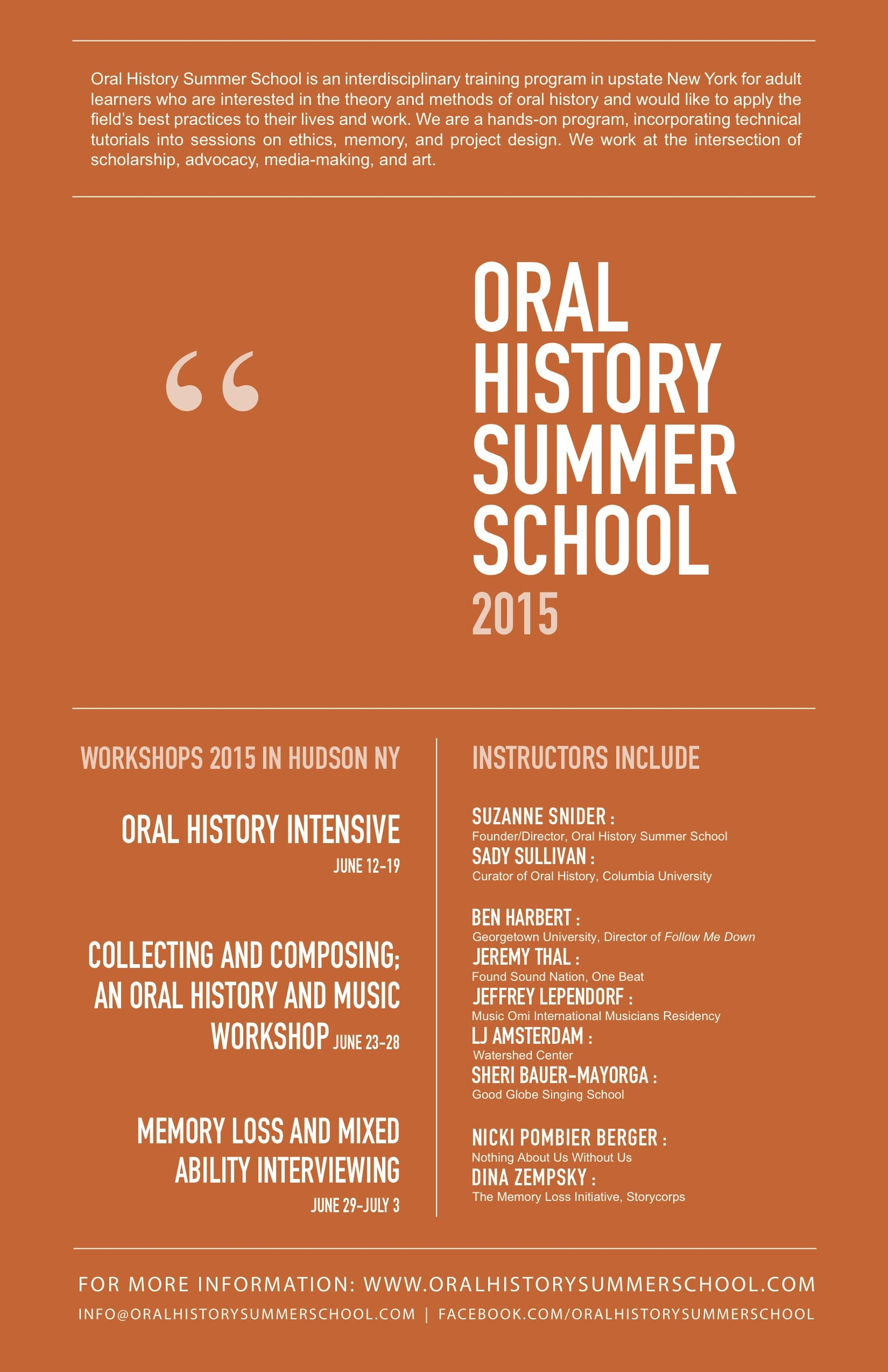 Oral History Summer School 2015