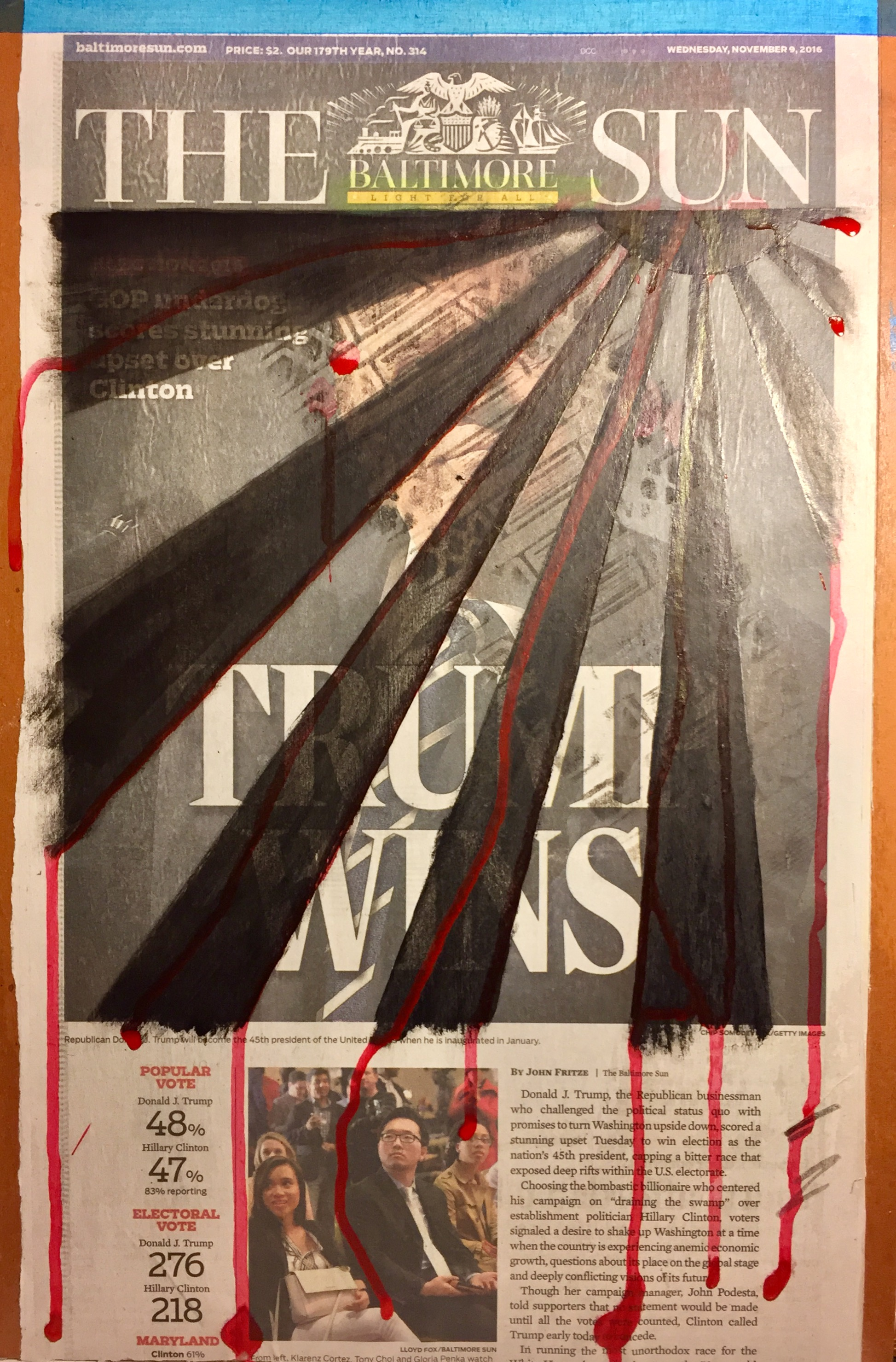 """The sun bleeds over America""  Acrylic, soot and graphite on newsprint on board""  18 x 12 inches"
