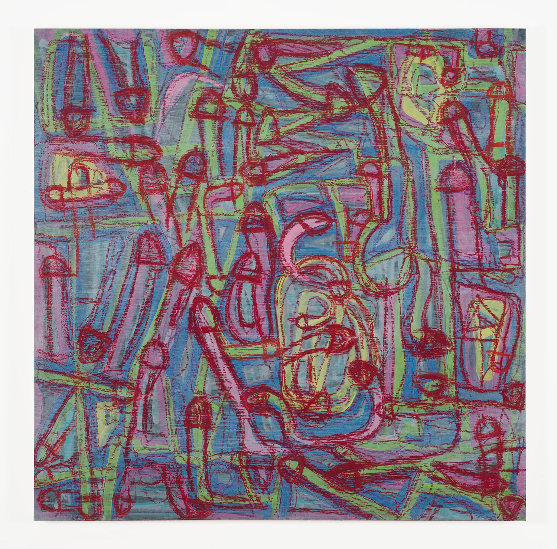 "Contiguity (Venereal)   Acrylic & pastel on panel  36"" x 36"""