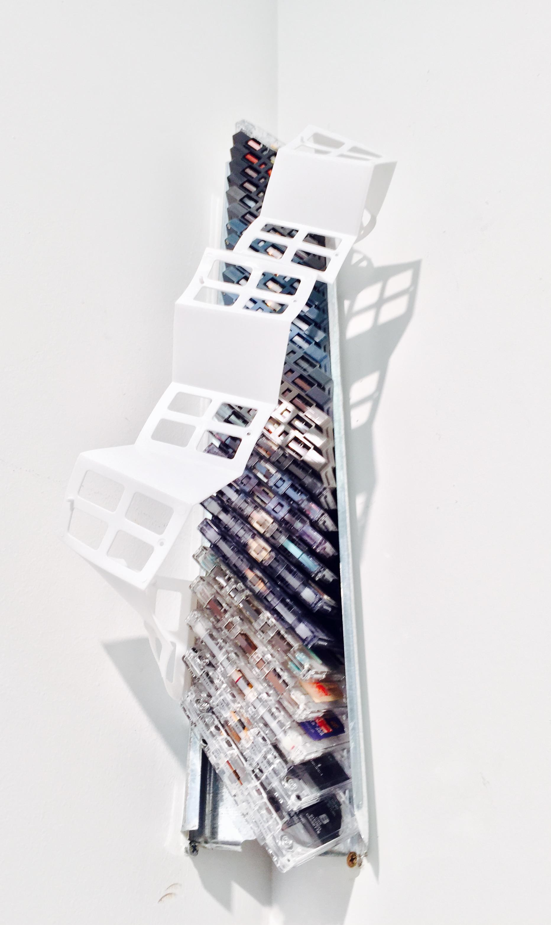 """Memory's DNA   Cassette tape, aluminium ventilation ducting, found plastic  21 3/8"""" x 8"""" x 5"""""""