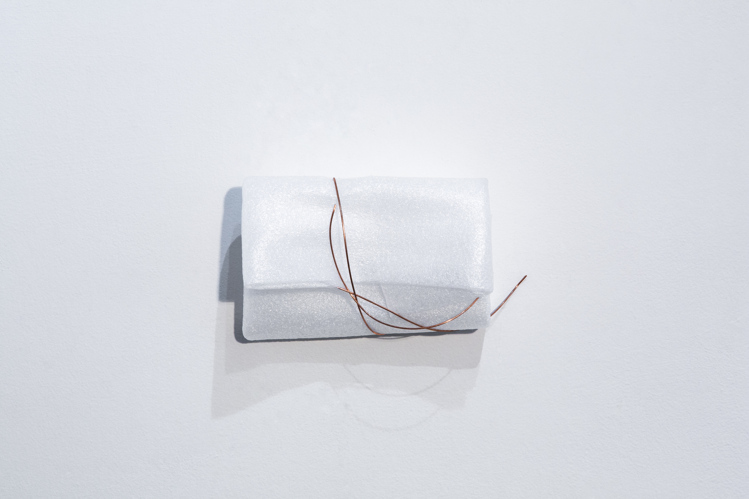 A different kind of love    Used foam packaging, and copper wire  8 x 4 1/2 x 3 1/2 inches  2018