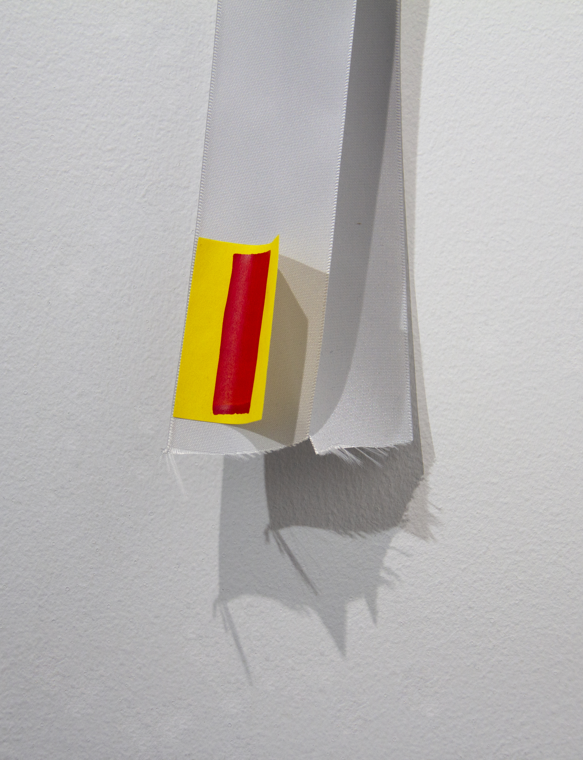The Vow   (detail)  Acrylic paint on Post-it, anniversary bouquet ribbon, used grocery packaging, found wooden stick and metal mesh, and pin  Approx. 40 x 13 x 2 1/2 inches  2018