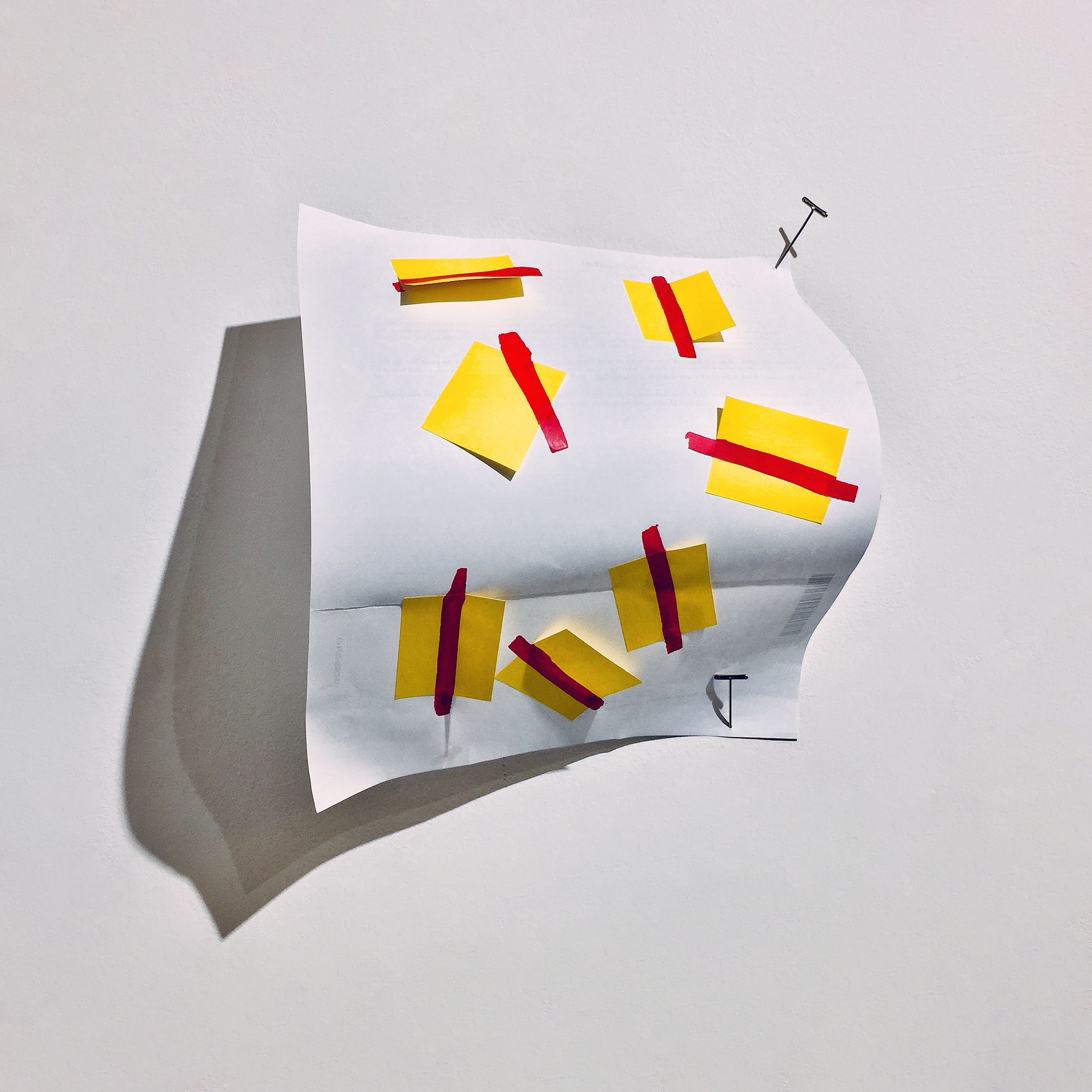The insurance policy    Acrylic paint, Post-it, post-hospitalization patient survey letter, and T-pin  Approx. 10 1/2 x 9 x 5 inches  2018