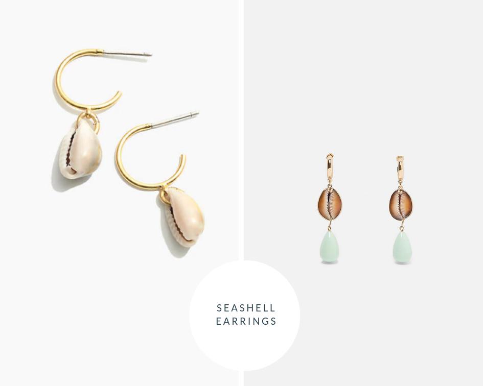 Madewell Hoop Shell Earrings  |  Zara Shell Drop Earrings