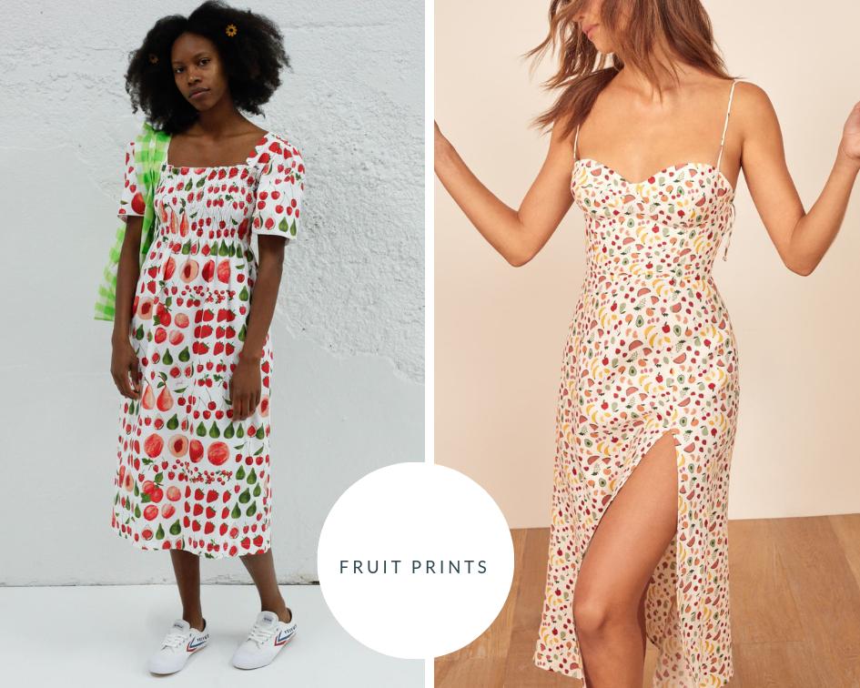 Toni Fruit Print Dress  |  Reformation Supermarket Sweep Dress