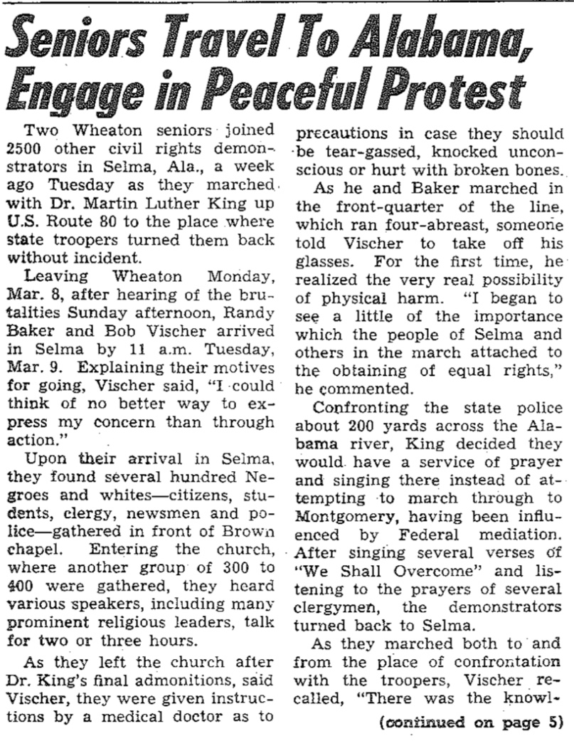 This article was published in Wheaton College's student newspaper when my dad got back from Selma.