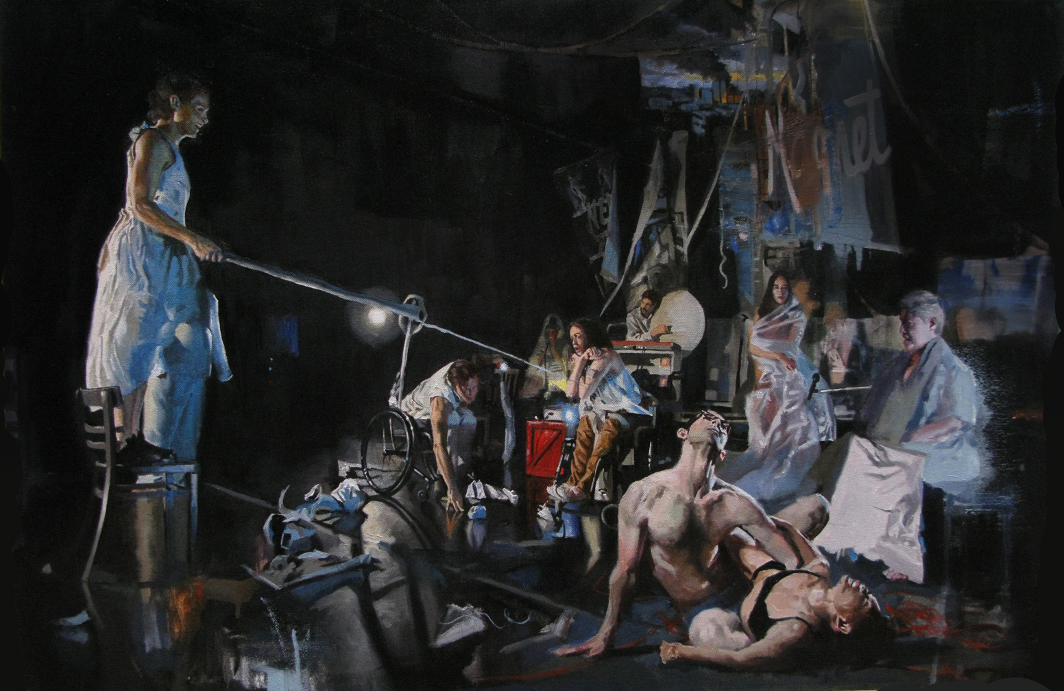 """Adam Caldwell    -  """"The Arc of the Narrative """", 24x36""""  , oil on canvas, 2015       Why did you create this work of art?     I have been creating elaborate photo shoots in collaboration with a theater/performance group in which we explore various narrative strategies. I am trying to integrate the performances into the gallery setting with installation and video as well as paintings.   Why did you choose this profession?   I choose art as a profession because I thought I could make more money than being an experimental electronic instrumentalist.   If you could own any work of art what would it be?   Probably a Vermeer, maybe """"The Art of Painting""""."""