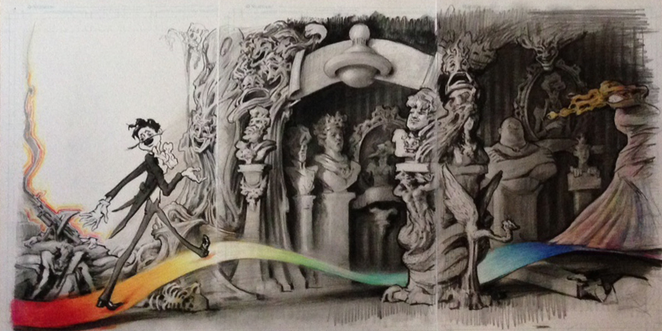 """""""The corridor of characters""""   Pencil, ink and acrylic  27 x 32  2014"""
