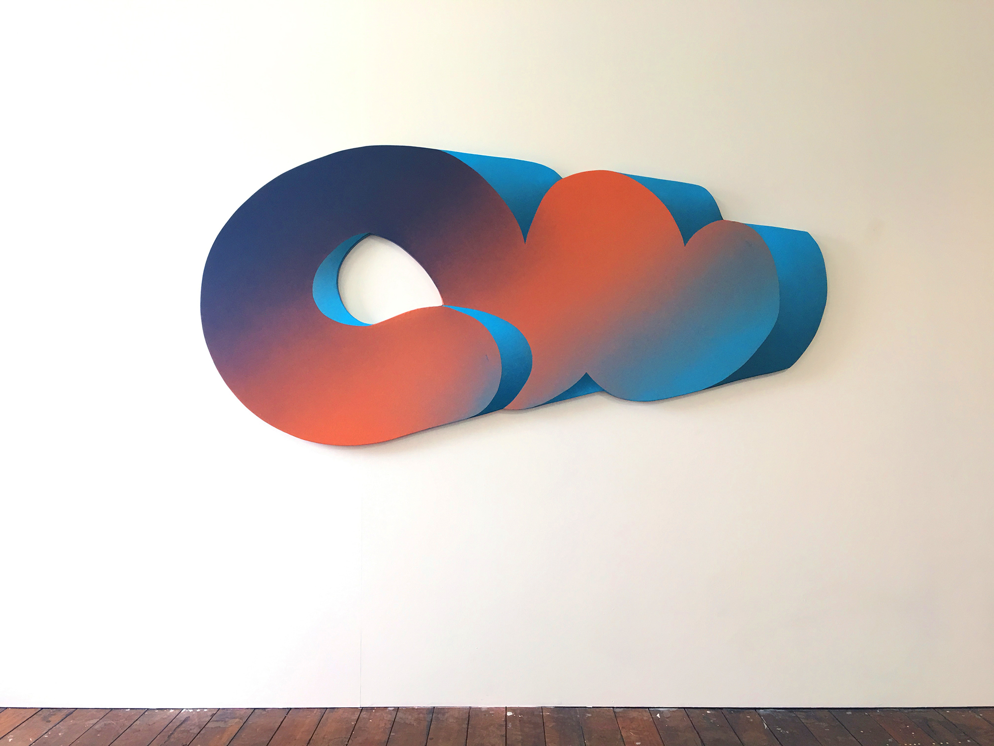 Shaped canvas, Australian artist, contemporary art, Australian artist, Perth artist, painting, futuristic, gradient, exhibition, disabled artist, bruno booth