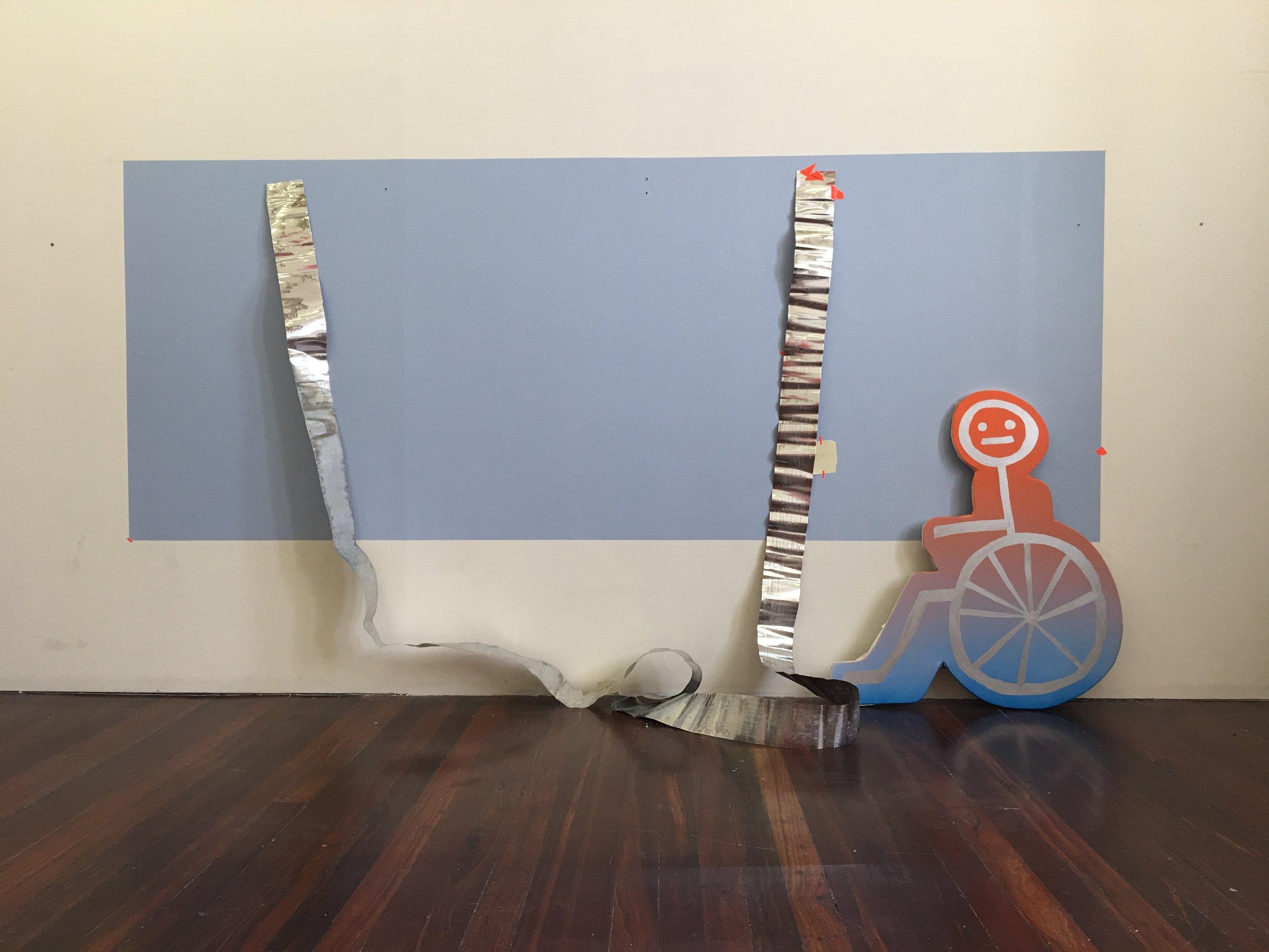 Shaped canvas, contemporary art, Australian artist, Perth artist, painting, futuristic, gradient, exhibition, disabled artist