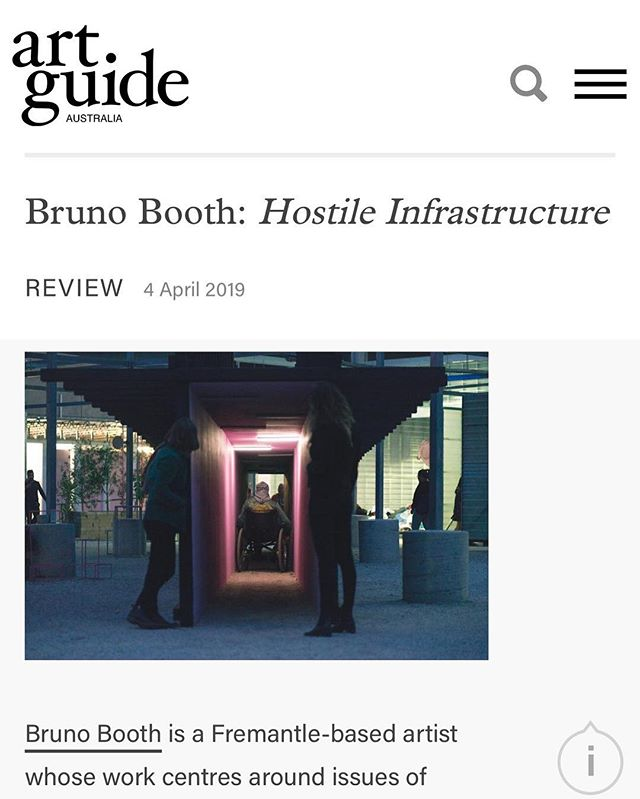 Great write up about Hostile ♿️ Infrastructure in @artguideau The installation is up in Melbourne @testinggrounds until April 18th. Go and take a turn in the wheelchair and see what it's all about🎉 Thanks to my wonderful sponsors @light_project @arup.lighting.melbourne and @fisherlane26 This project is supported by the @cityofmelbourne arts grants program.