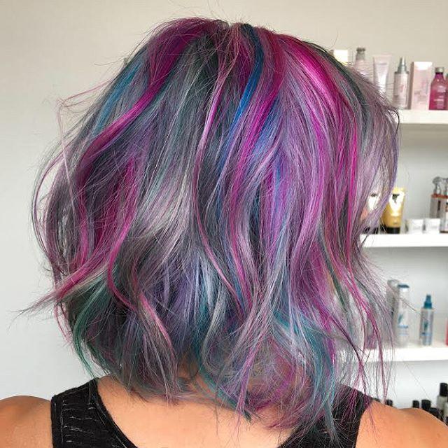 Maria Milanes Hair - Jewel Tones, Rainbow Hair, Lob Cut, Valencia, Los Angeles, Granada Hills