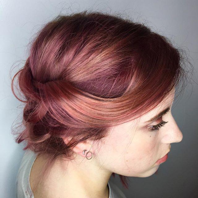 Maria Milanes Hair - Rose Gold Hair, Redken , Olaplex, Updo, Peachy Mauve, Rainbow Hair, Valencia, Los Angeles, Granada Hills