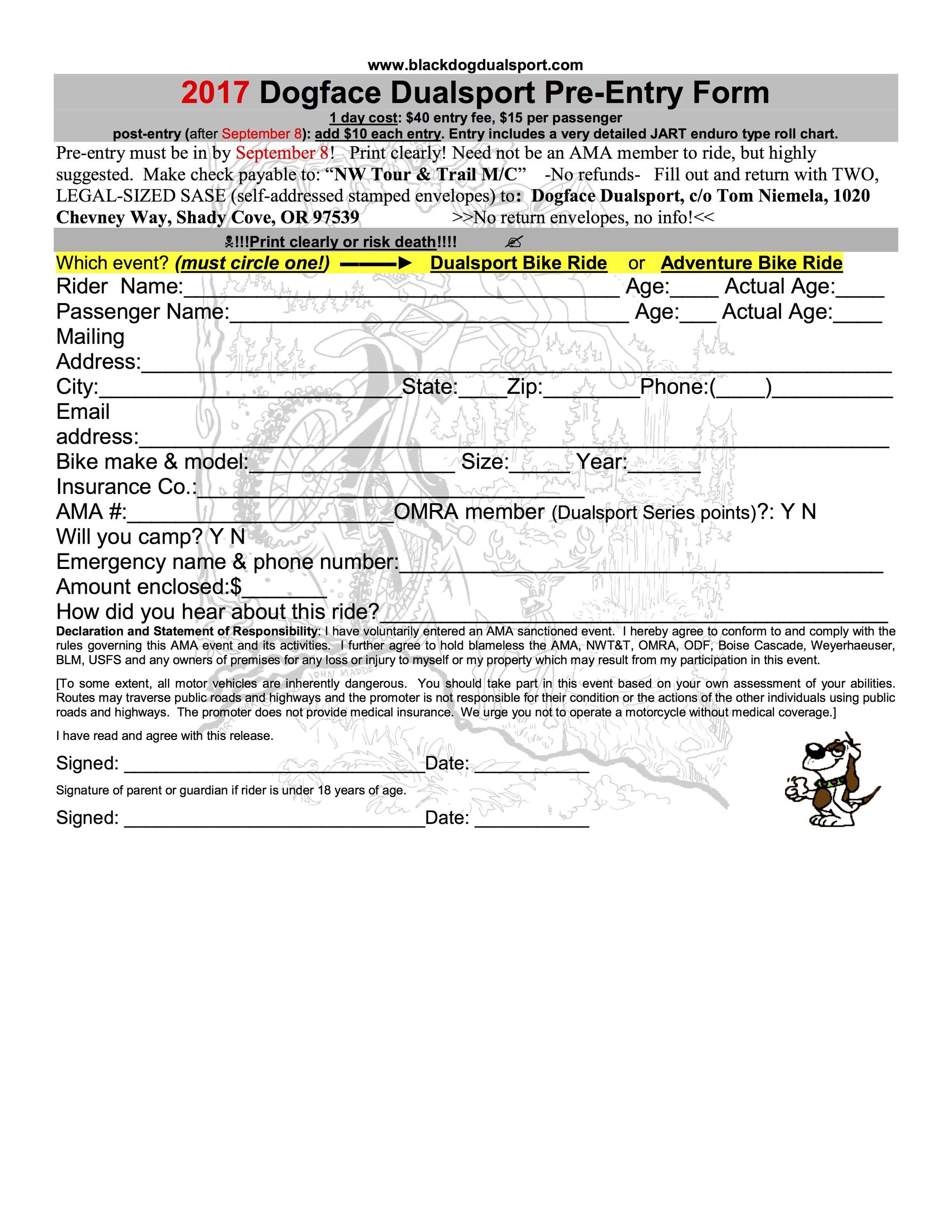 Printable Pre-Entry Form