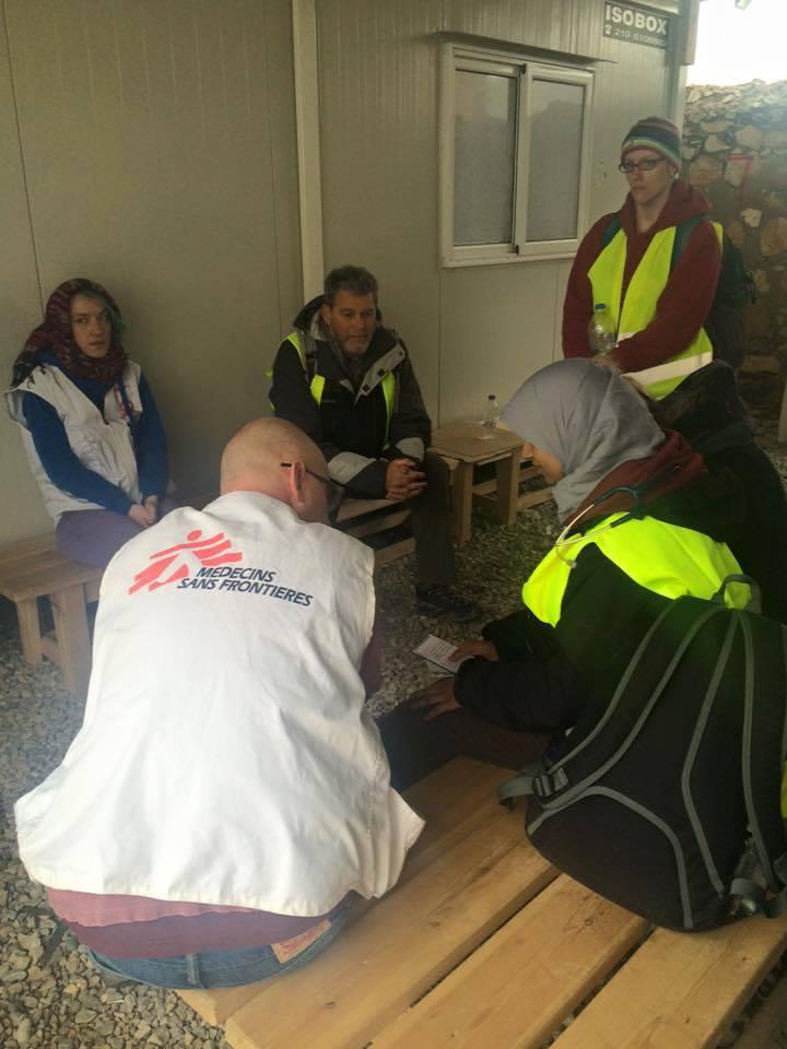 Volunteer doctors from RefuAid during handover with MSF, Leros 2015.