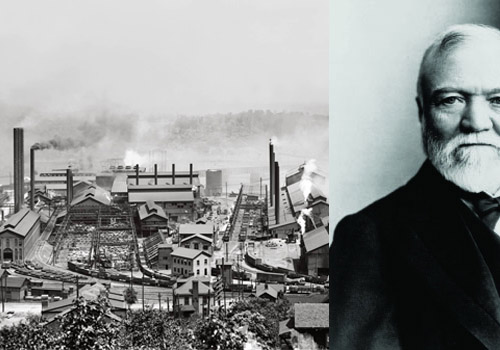 "The carnegie Foundation - The Steel came from Carnegie's Homestead Steel Factory in Pennsylvania. 40 years earlier it was the site of one of America's first major strikes for labor rights which ended up turning into the ""Homestead Massacre"" which precipitated the labor rights movement in America."