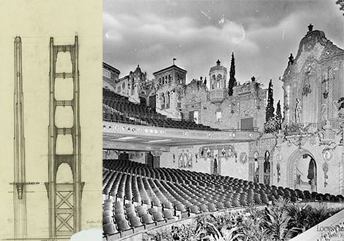 theater designer sais go Deco - Where did the bridge get it's art-deco flair? John Eberson, famous for arabesque theater interiors (near left)also invented the modern theater marquis designs that are still synonymous with theater signage today. On far left is his signed sketch showing his