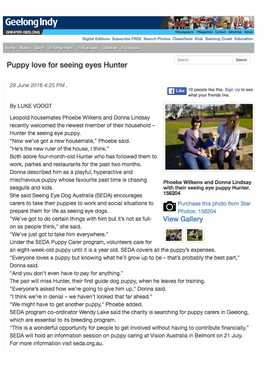 SEDA | Seeing Eye Dog Australia