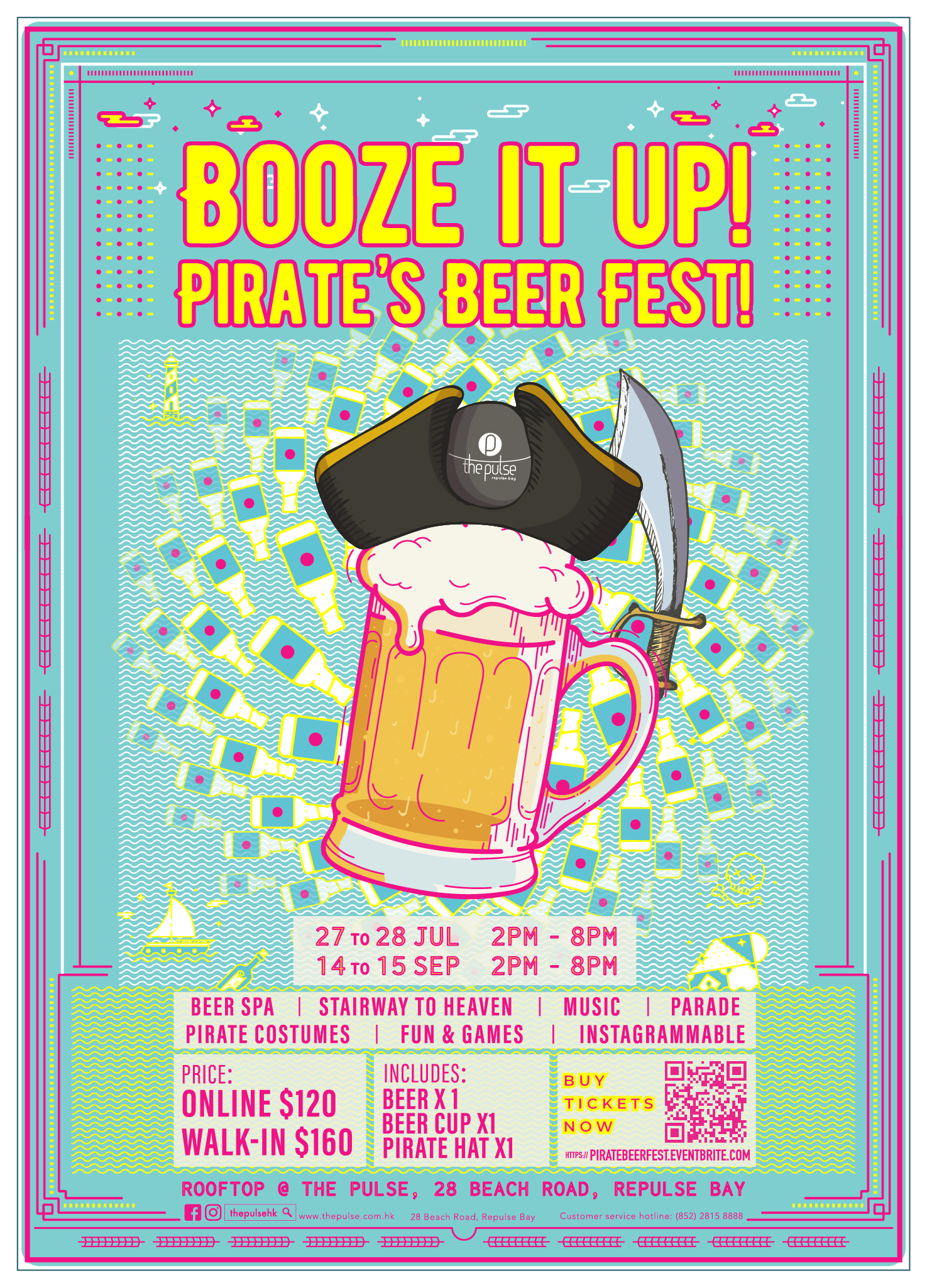 "Booze it up! Pirate's Beer Fest! - Date: 27-28 Jul 2-8pm &14-15 Sep 2-8pmVenue: Rooftop, 28 beach road, the pulse, repulse bayWhat's in it for you?:A Bottle of the pulse x Citibrew: ""Endless Pirate's Beer""A macho muscle/ bikini body beer glass (that you can customise)Live bandFun &GamesInstragram fodderBeer competition (15th exclusive)Bartending performance (15th exclusive)A good timeTickets now: https://piratebeerfest.eventbrite.com"