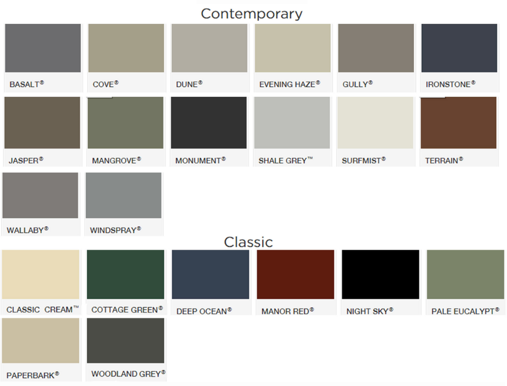 Click to enlarge and see all colours For more colour information go to   www.colorbond.com