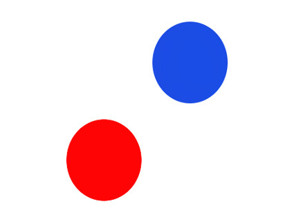 red dot and blue dot