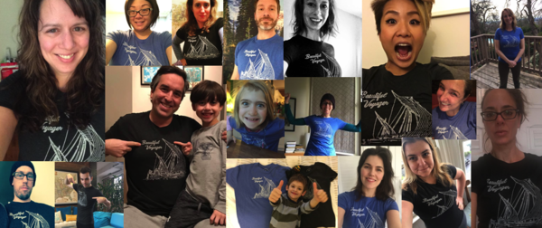 Adorable happy people in shirts that fit.