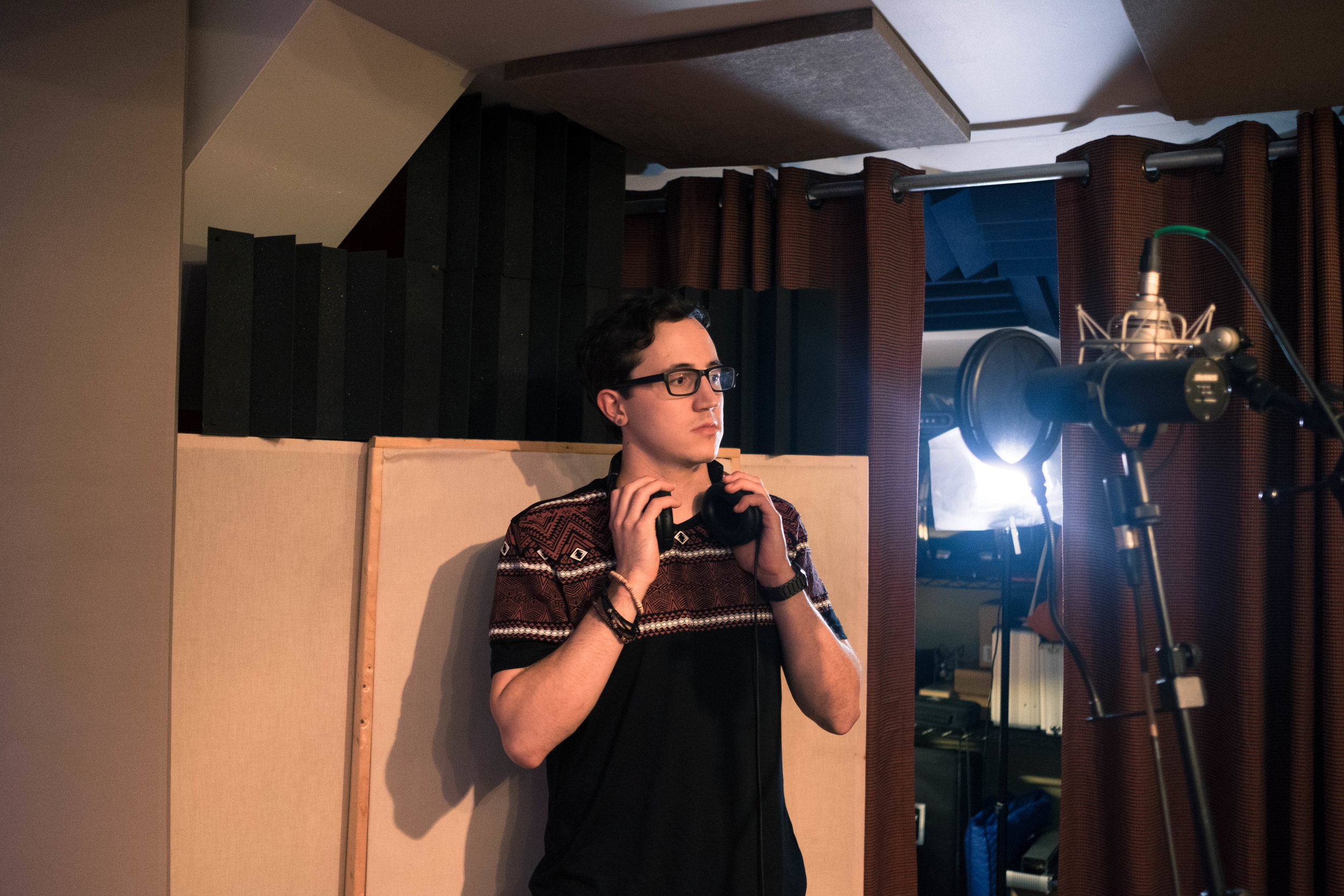"""The author in the studio. """"Songwriting helps,"""" he says, """"but it can only go so far."""""""