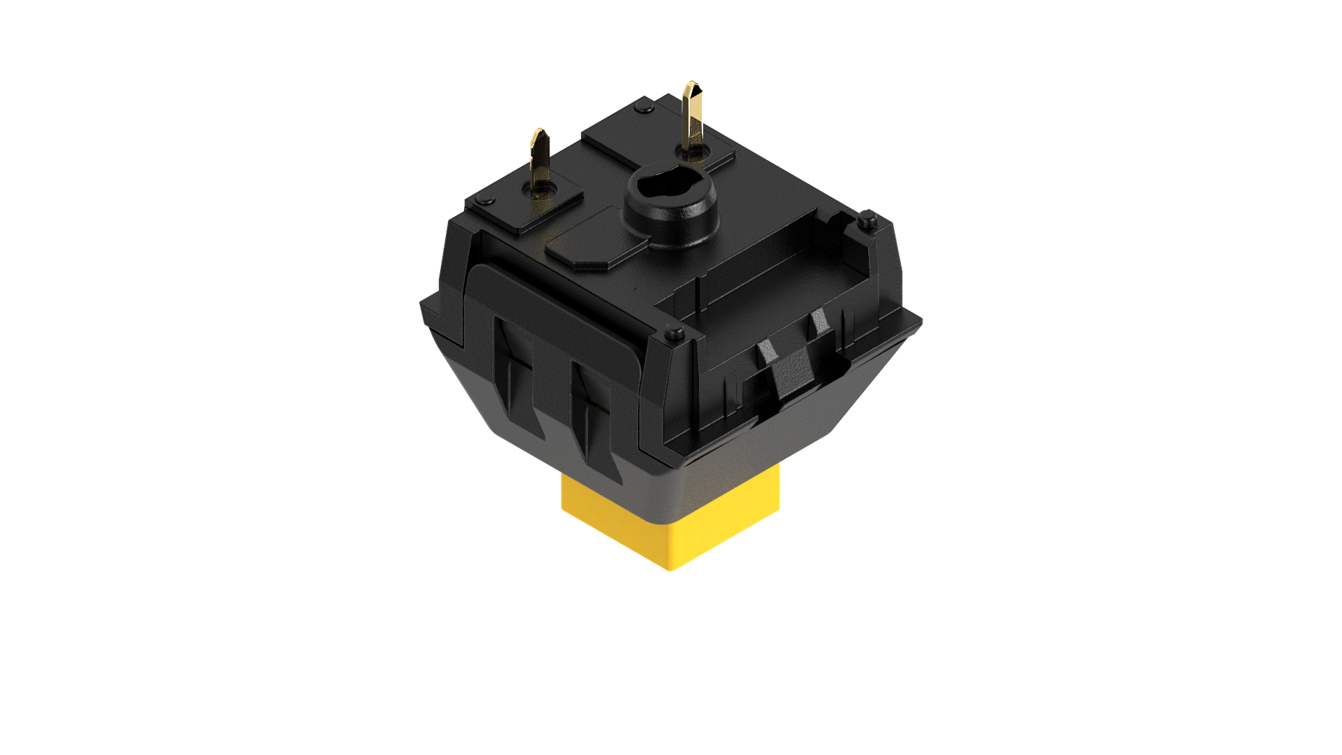 Pictured: Underside of a Kailh BOX switch, other switches such as ones from Cherry or Gateron will look different but the pin location will remain the same.