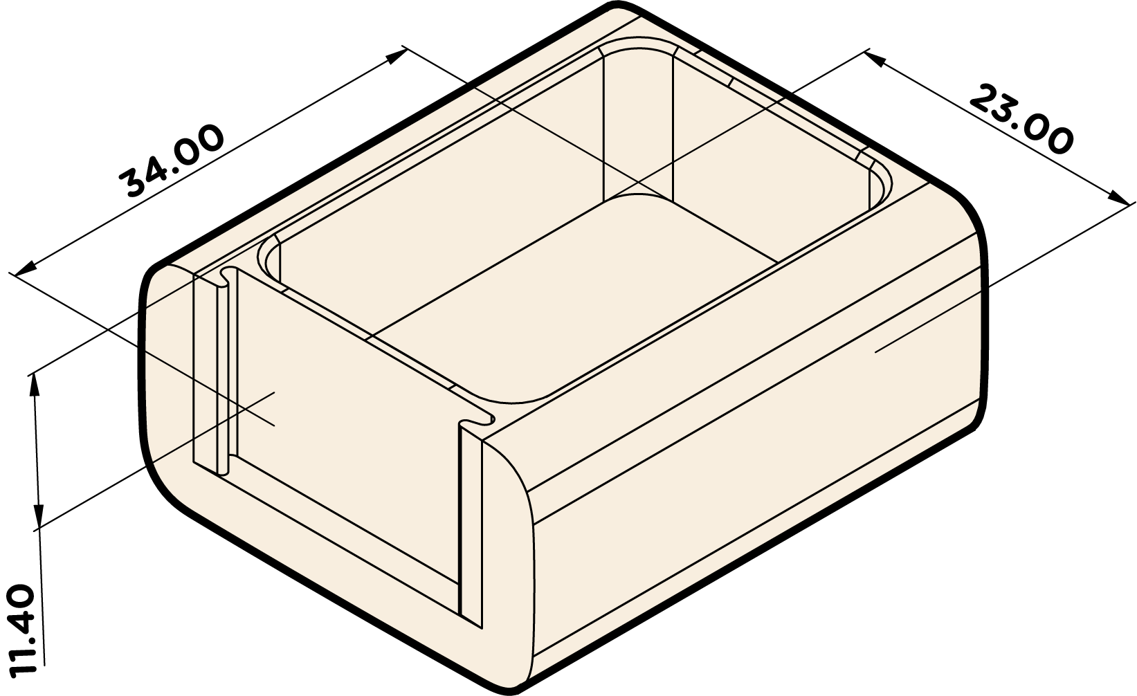 Tray - Dimensions in Millimeters