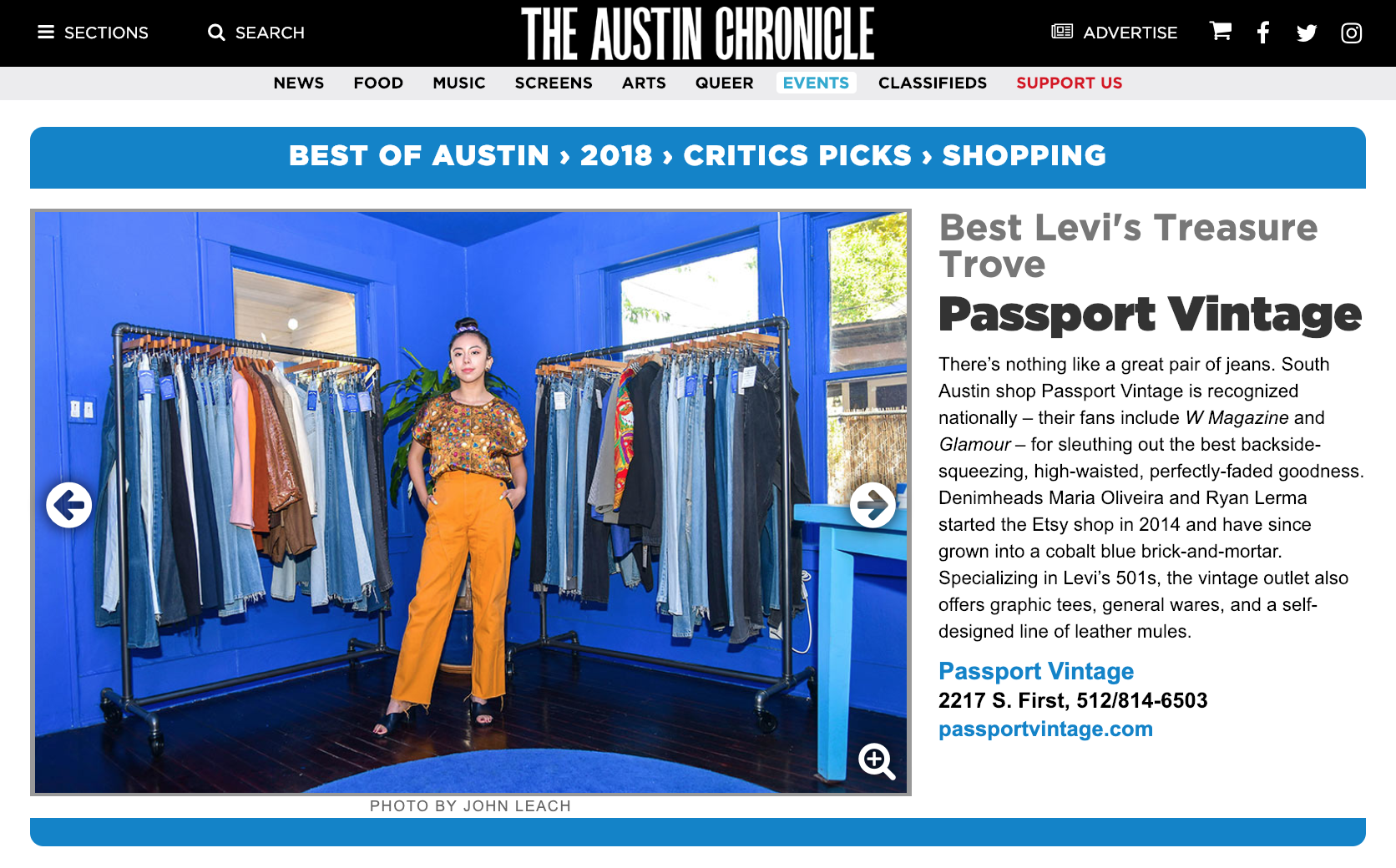 "AUSTIN CHRONICLE'S ""BEST OF AUSTIN'"" ☞ Best Levi's Treasure Trove"