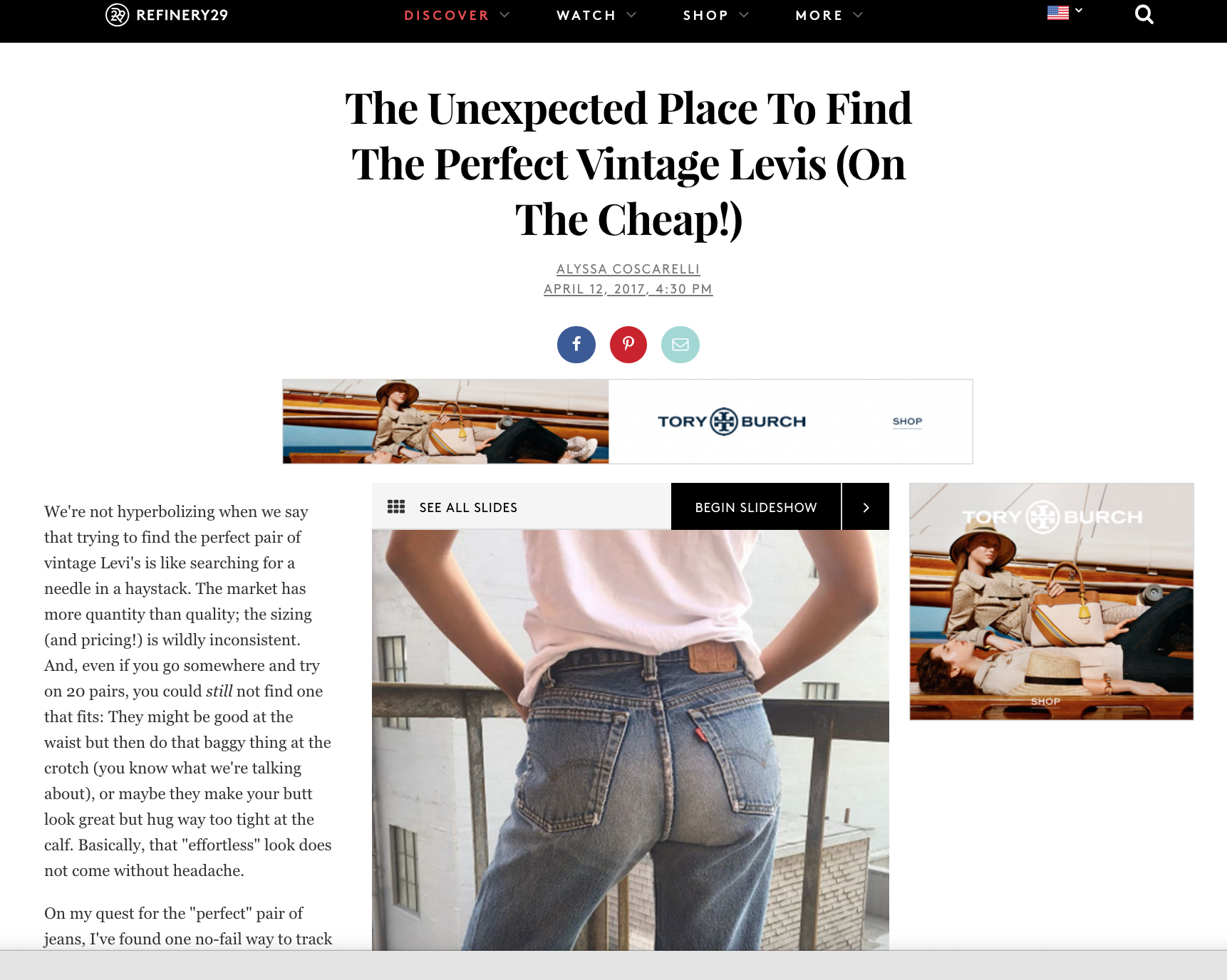 REFINERY 29 ☞      The Unexpected Place To Find The Perfect Vintage Levi's   ,    I Hope Mom Jeans Never Go Away