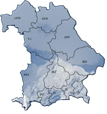 Skigau Werdenfels (WF) Skiverband Oberfranken (OFR) Skiverband Chiemgau (CH) Skiverband Unterfranken (UFR) Skiverband Allgäu (ASV) Skiverband Oberland (OL) Skiverband Inngau (IG) Skiverband Oberpfalz (OPF) Skiverband München (MU) Skiverband Bayerwald (BW) Skiverband Frankenjura (FJ)