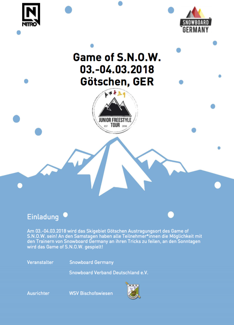 German Junior Snowboard Freestyle Tour Götschen 2018 Game of Snow