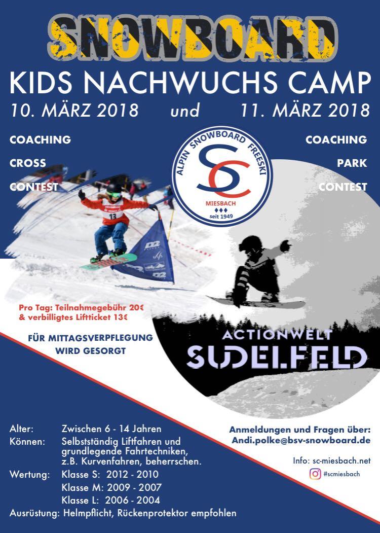 Snowboard Kids Nachwuchs Camp SC Miesbach 2018 am Sudelfeld