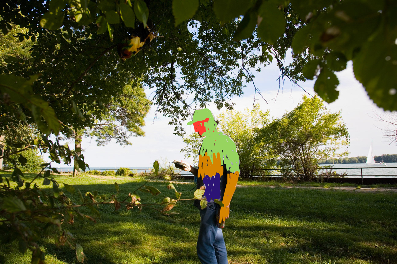 """Picking up the """"Tree Frequency"""" with a radio at Riverside Park  photo by Garret MacLean, modified by Kathy Leisen"""