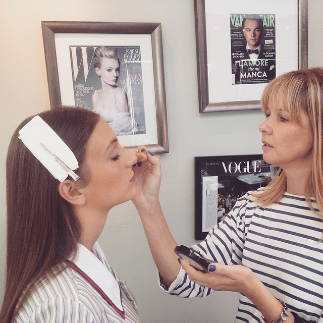 """Up and coming actress  @cerenthafavetti staring in the short film """"Black Cat"""" directed by Leonie Savvides (with Jane Campion as her advisor) getting her make up done by our @stephanietetu The movie will be entered in the Cannes, Berlin, Sundance and Toronto film festivals. 👏 (at La Boutique)"""