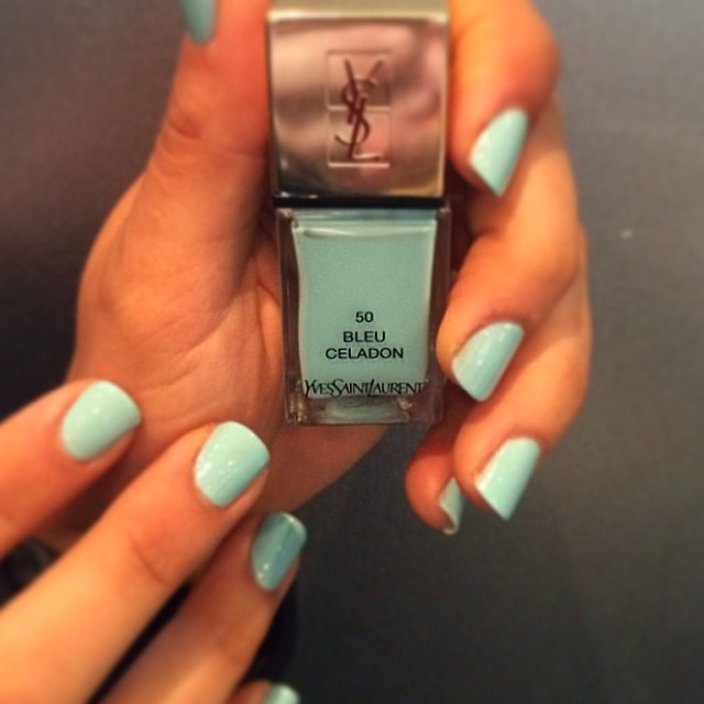 Loving this colour from @yslbeautyau (bleu celadon) exclusive @laboutiquehair (on shelves in June) come and see our YSL ambassador  @nailsbyfrances #nail #colour #bleu #50 #yves #saint #laurent 💅💙
