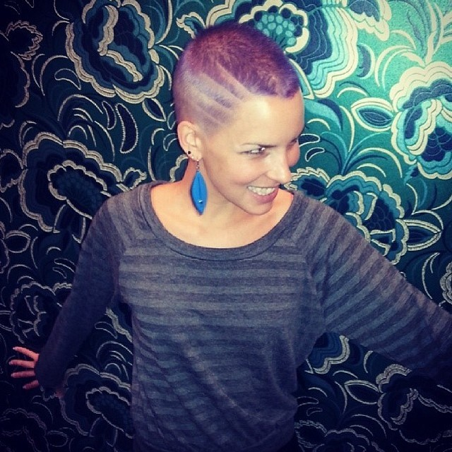 lilac dream!! love a visit from one of our fave in house models Nadia Jesse got scissor happy and Tim went purple mad!   (at La Boutique)