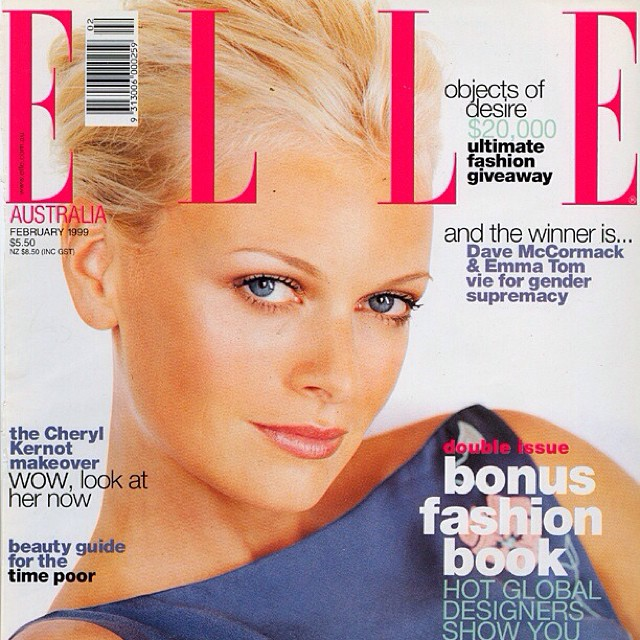 Belinda is number one for beautiful blondes, and one of her favourites is Sarah Murdoch. Here is a throwback to Sarah in 1999 on the cover of Australian Elle Magazine. (at La Boutique)