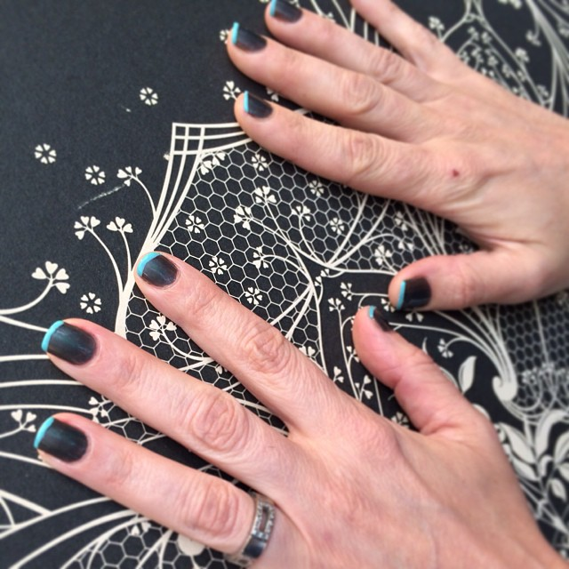 #love a #creative #colour #mani #nail #tip #gunmetal #grey and #duckegg #blue by Frances #beauty